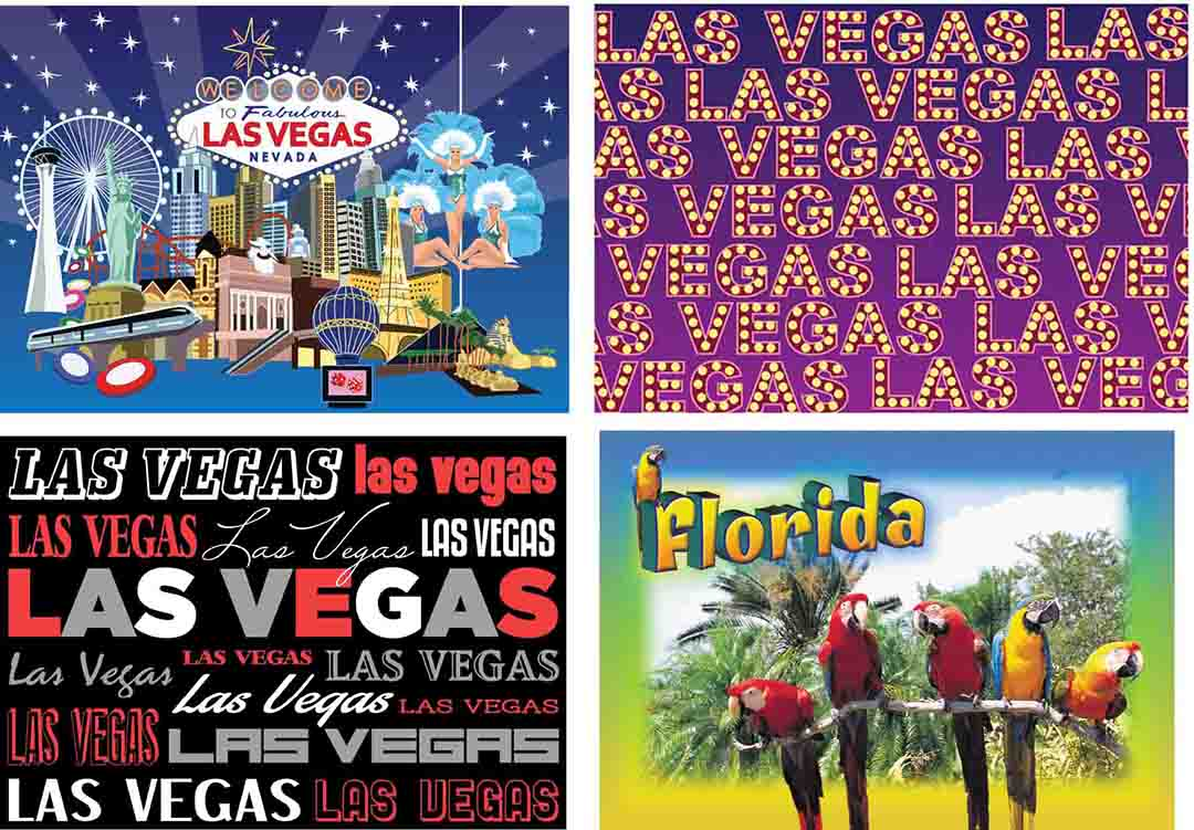 Souvenir Placemats of Las Vegas and Florida – NOW AVAILABLE!